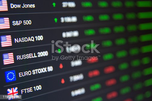 macro shot of computer monitor with world stock market data in trading application