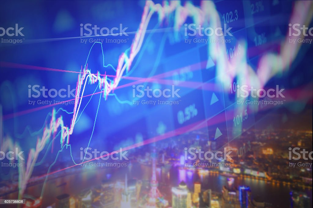 Stock market chart background stock photo