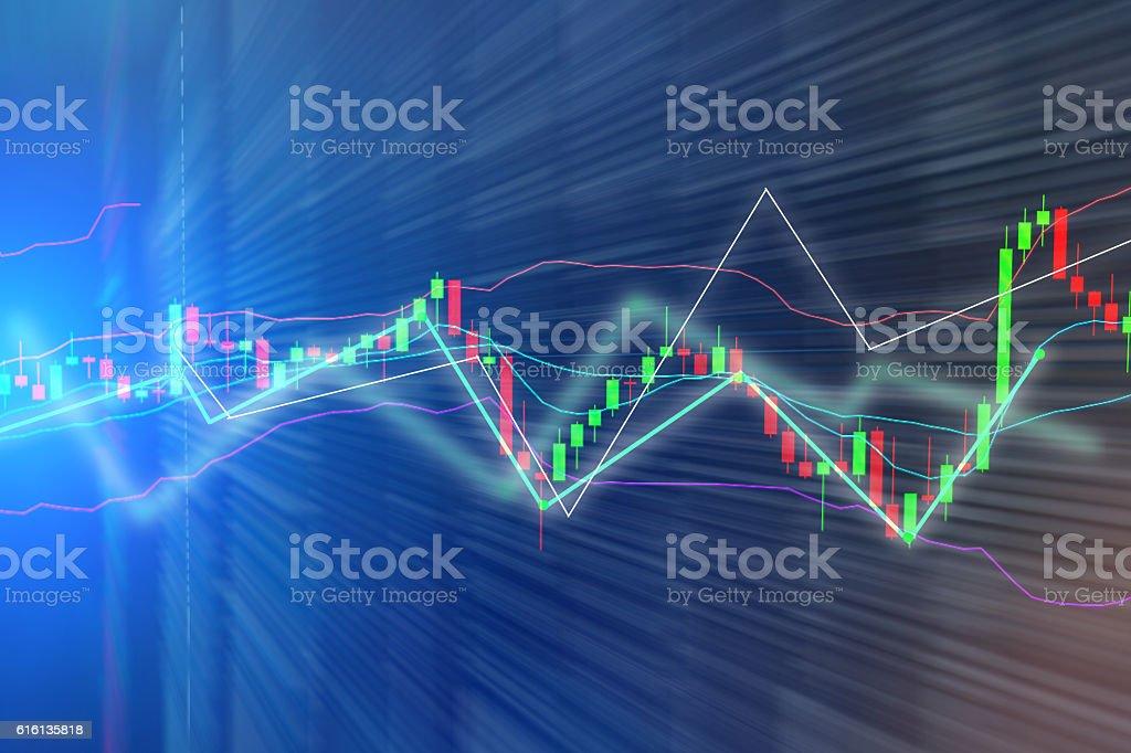 Stock market chart, graph on blue backgroundStock market chart, stock photo