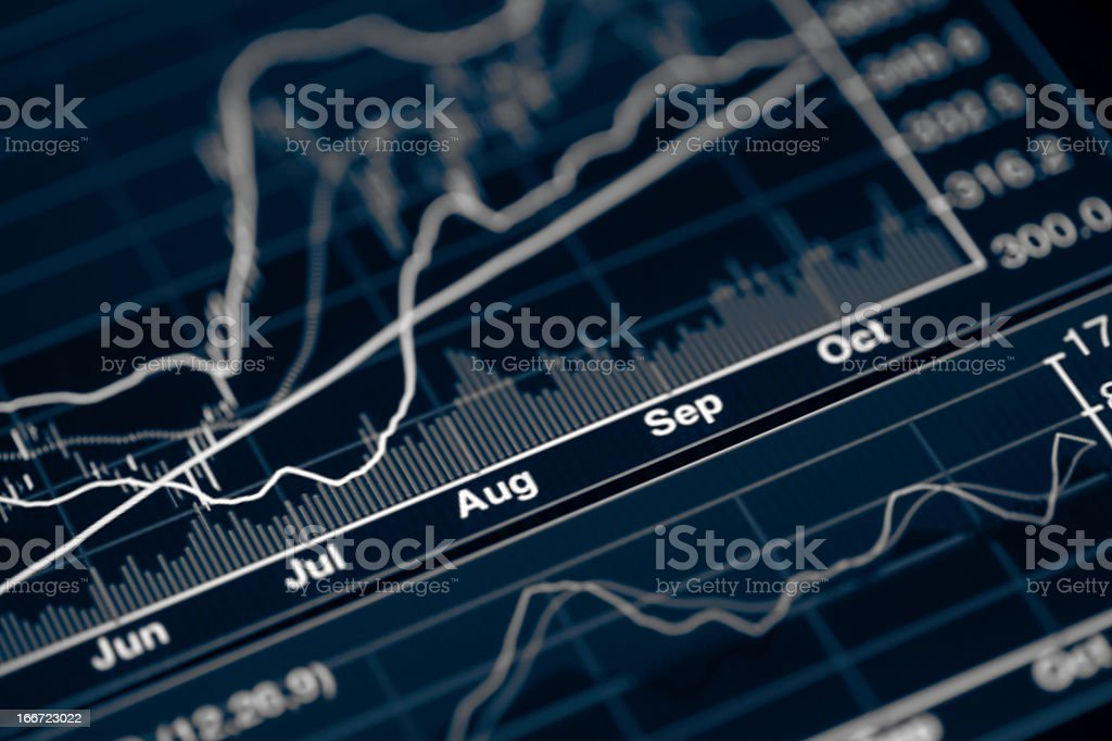 A stock market chart in black coloring stock photo