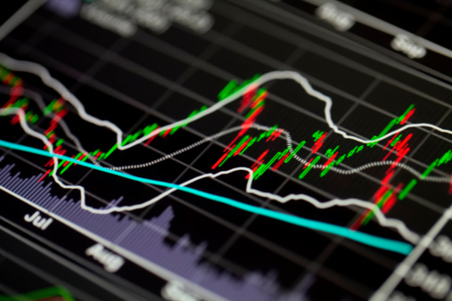 Stock Market Chart On Computer Display Stock Photo - Download Image Now