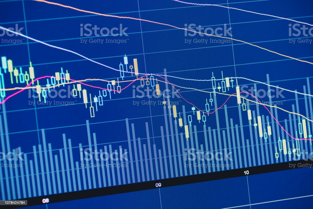 Stock Market Chart On Screen Of Computer stock photo