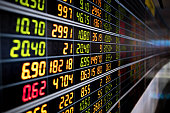stock market chart or stock market board with led display