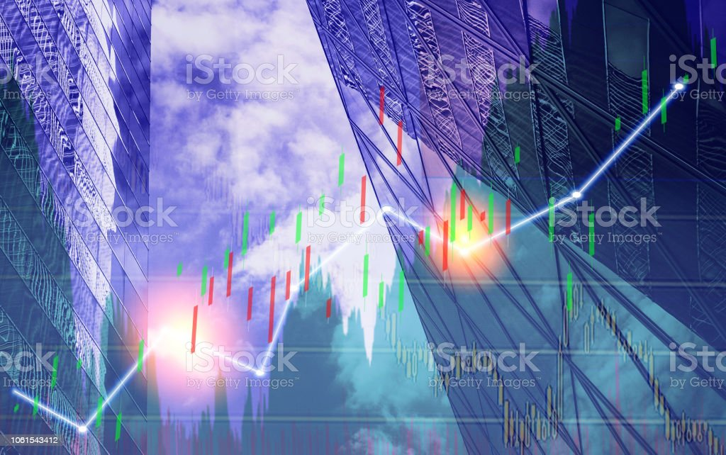 Stock market chart shown in financial building, business background.
