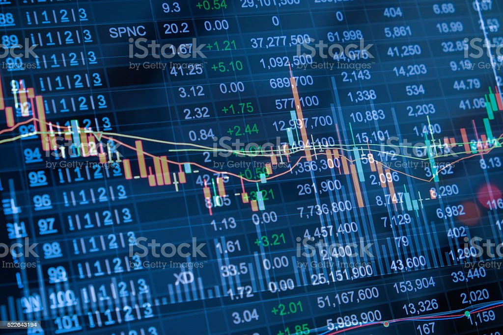 Stock market chart, Stock market data on LED display concept stock photo