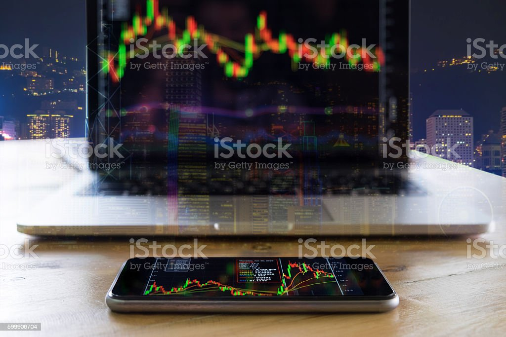 Stock market chart, Stock market data on smartphone display conc stock photo