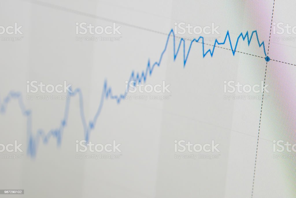 Stock market chart - up and to the right - rising stock photo
