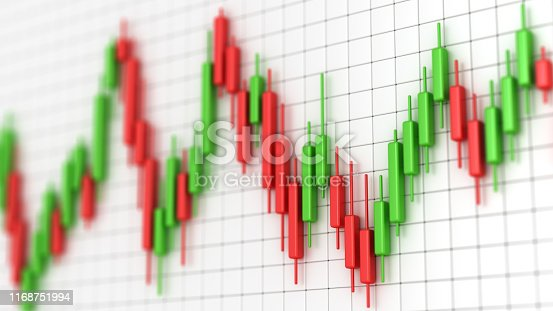 Stock market chart with green and red candles. Profit and money. Financial and business graph. Stock market volatility 3d illustration.
