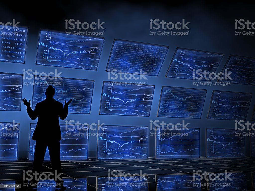 Stock Market Charts on Televisions stock photo