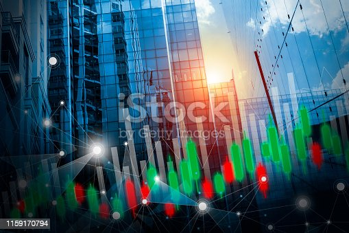 istock Stock market concept design of business network connection and graph on building with light background 1159170794