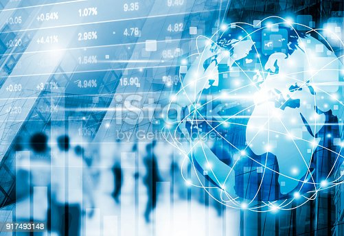 1154268620 istock photo Stock market concept design of digital global business network connection and people walking in the city 917493148