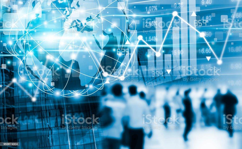 Börse-Konzeption von digitalen globale Business-Netzwerk-Verbindung und Passanten in der Stadt mit Grafik – Foto