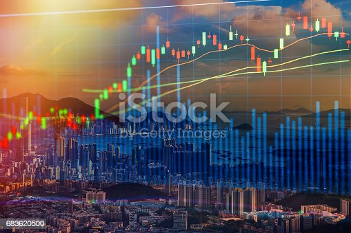istock Stock market concept with cityscape background,real estate concept. 683620500