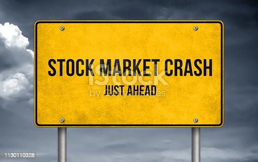 Stock Market Crash ahead- road sign warning