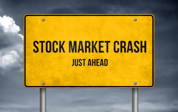 stock market crash voraus-schild warnung - börsencrash stock-fotos und bilder