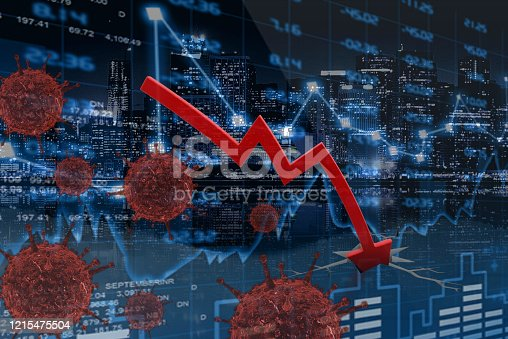 Stock market crash concept - downturn in shares against an urban night time background
