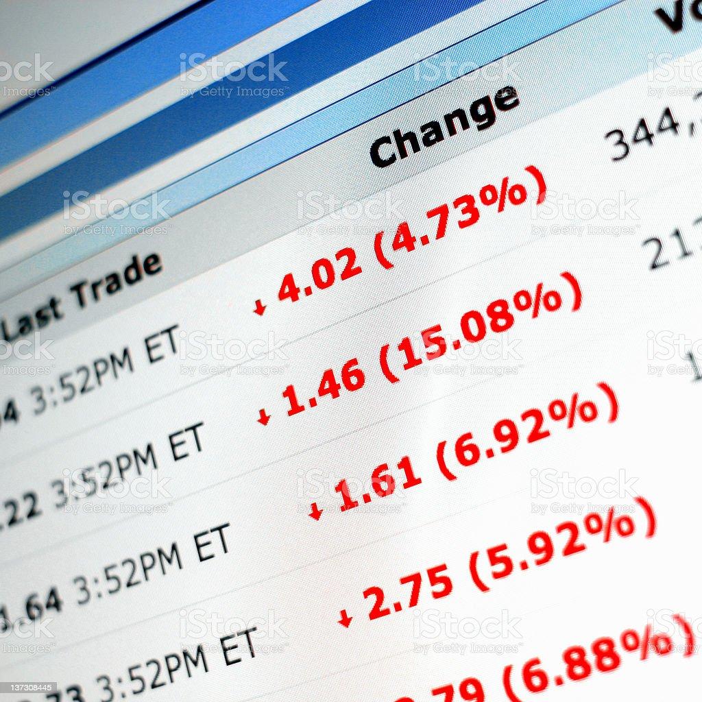 Stock Market Crash - Prices Falling on Computer Screen stock photo