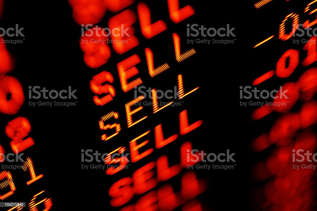 stock market crash sell-off - trading screen in red stock photo
