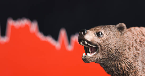 Stock market crash with red chart stock photo
