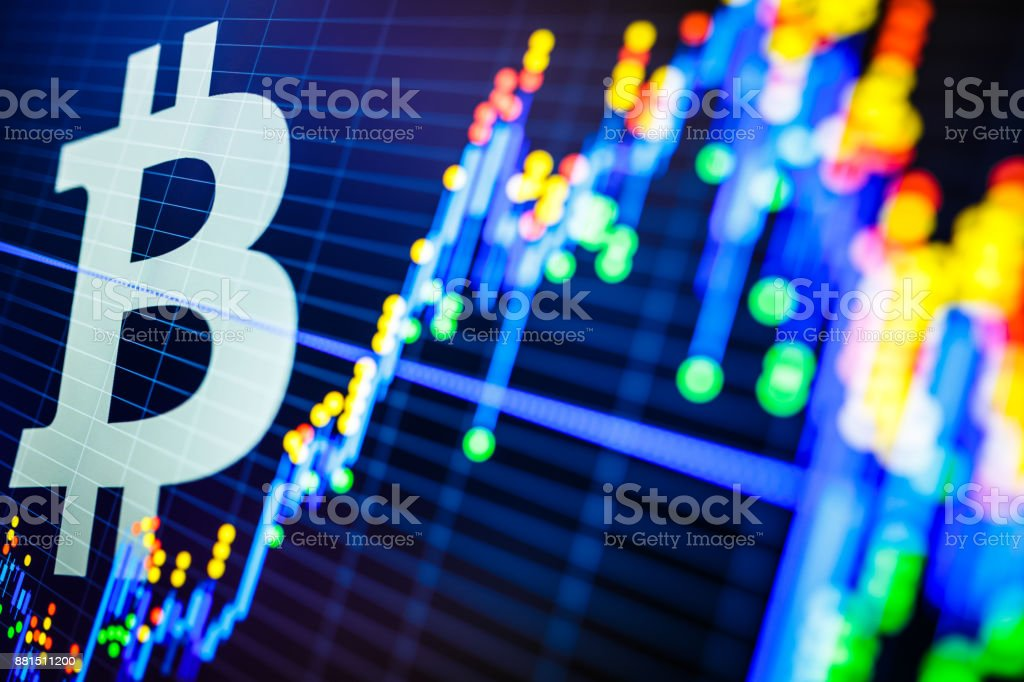 Stock Market Data and Bitcoin Symbol stock photo