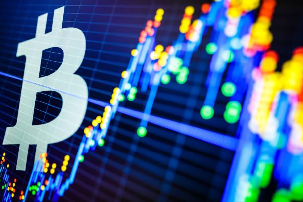 stock market data and bitcoin symbol - bitcoin stock photos and pictures