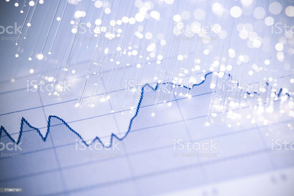 Stock Market Data and Fiber Optics stock photo