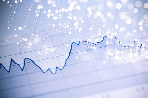 Stock Market Data and Fiber Optics stock photo