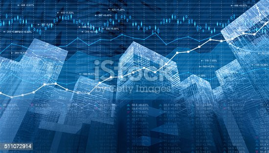 istock Stock market data and finance charts on digital city skyscrapers 511072914