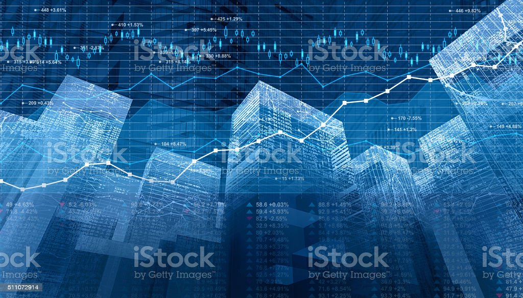 Stock market data and finance charts on digital city skyscrapers stock photo