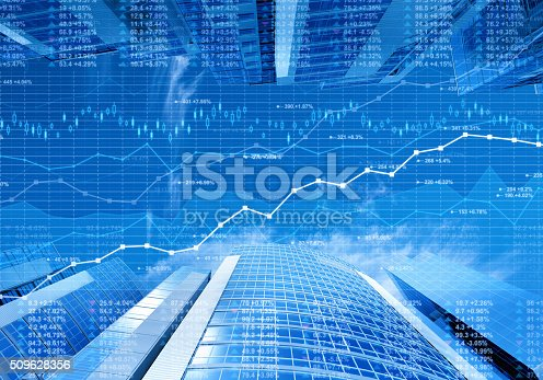 istock Stock market data and finance charts on skyscrapers background 509628356