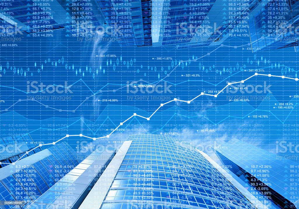 Stock market data and finance charts on skyscrapers background stock photo