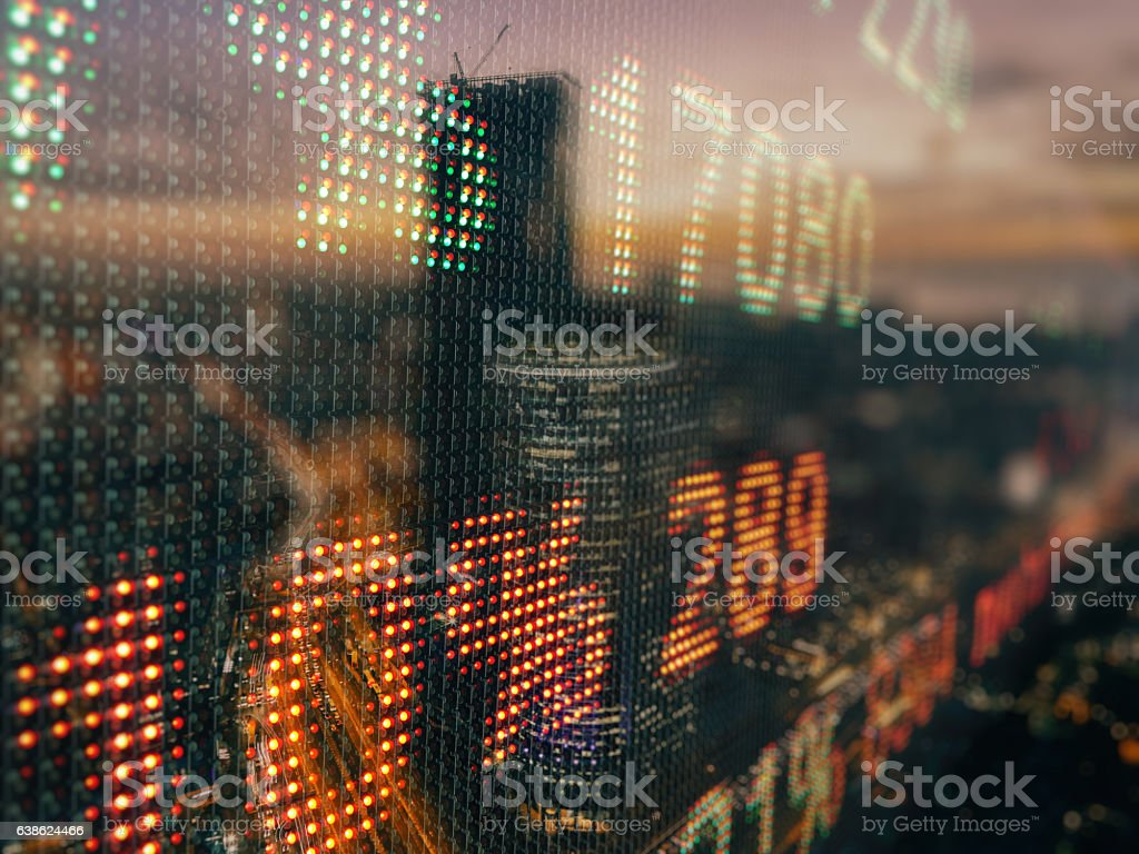 Stock market data chart display ticker board concept stock photo