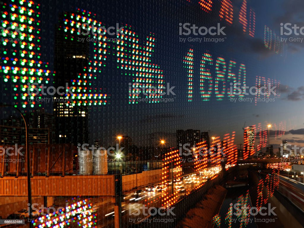 Stock market gegevens grafiek display ticker bestuur royalty free stockfoto
