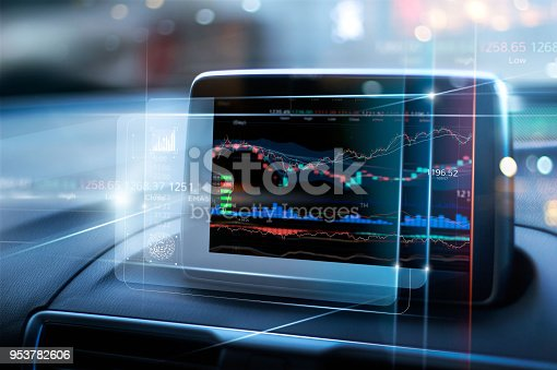 istock Stock market data display on virtual screen in the car on city background. Abstract finance design. Financial investment concept. 953782606