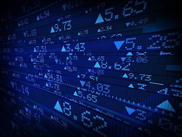 börse daten ticker board auf blau angezeigt - kurstafel stock-fotos und bilder