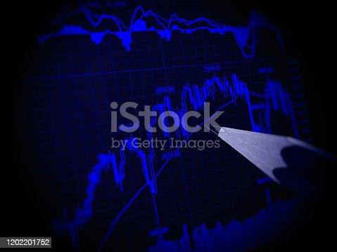 698711352 istock photo Stock market data finance chart graph investment analysis 1202201752