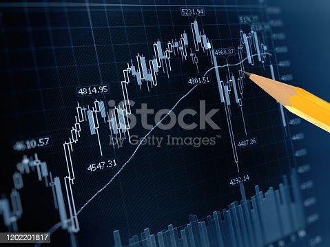 698711352 istock photo Stock market data finance chart graph investment analysis 1202201817