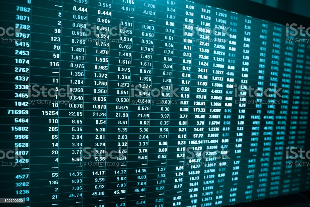 stock market data in big screen stock photo
