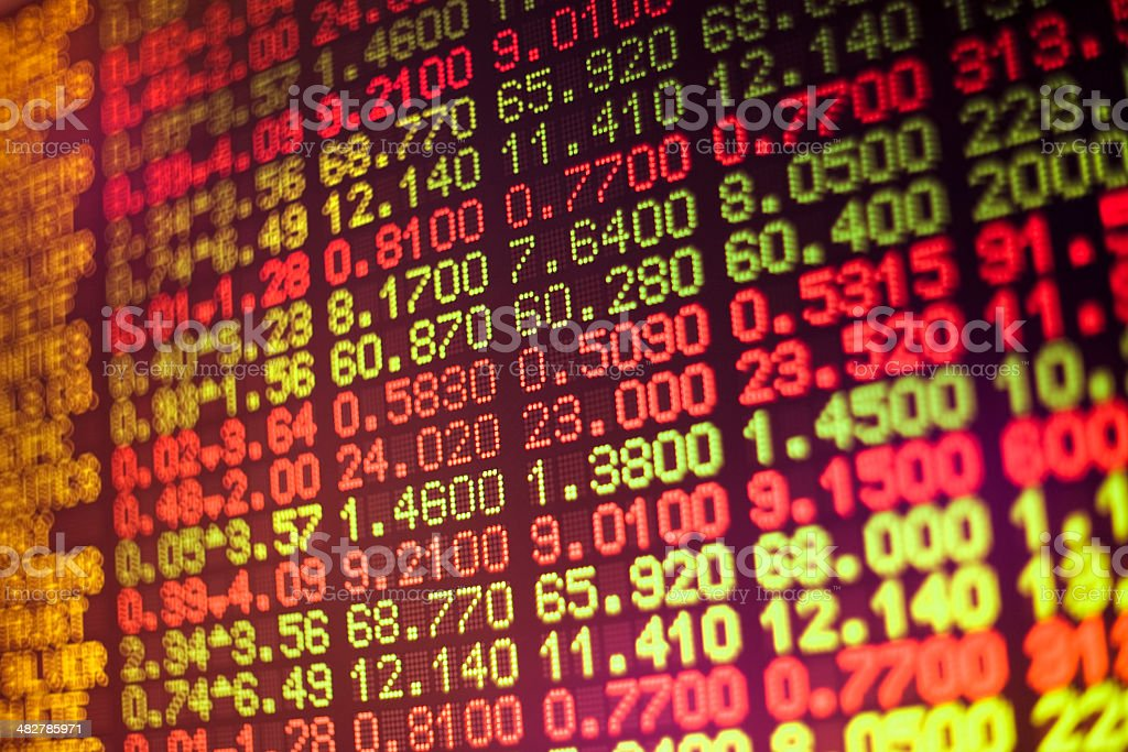 Stock market data on digital board royalty-free stock photo