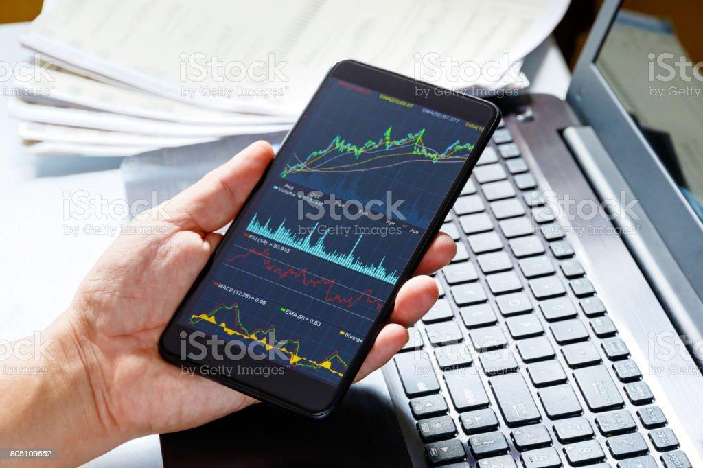 Stock market data on moblie phone stock photo