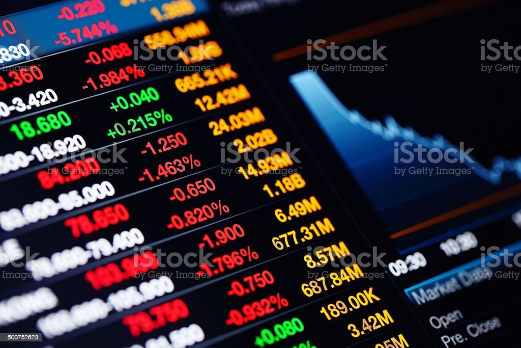 Stock market data on screen stock photo