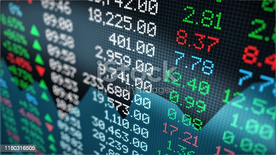 close-up view of a stock market data board (3d render)