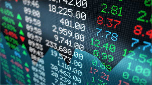 stock market data close-up view of a stock market data board (3d render) stock market stock pictures, royalty-free photos & images