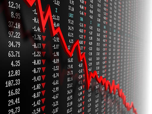 Stock market data with downtrend vector stock photo