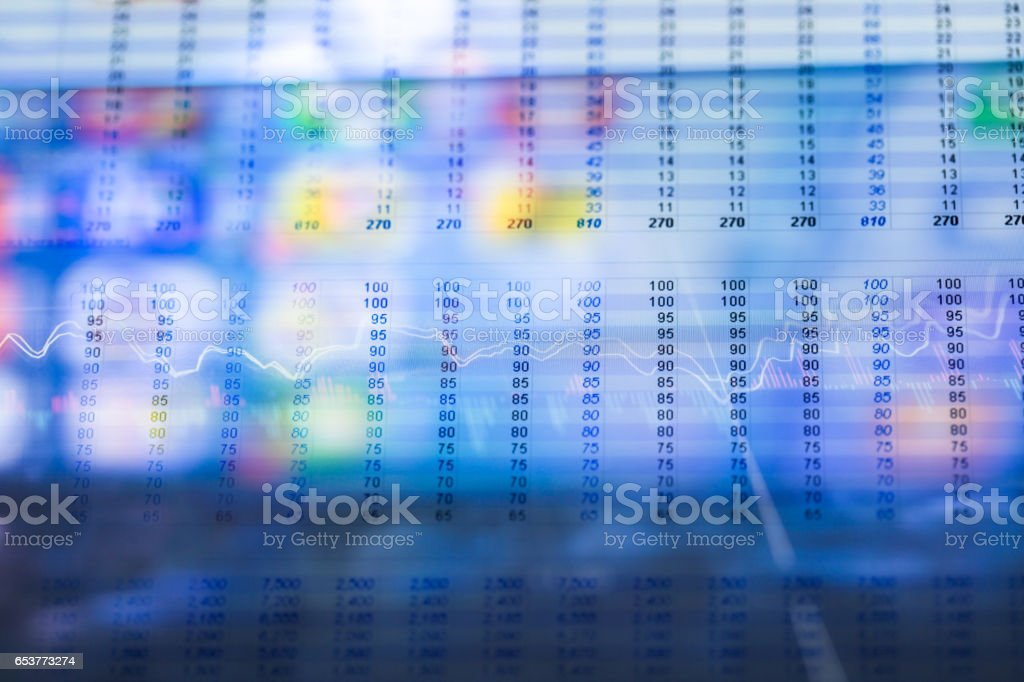 stock market data with financial document stock photo