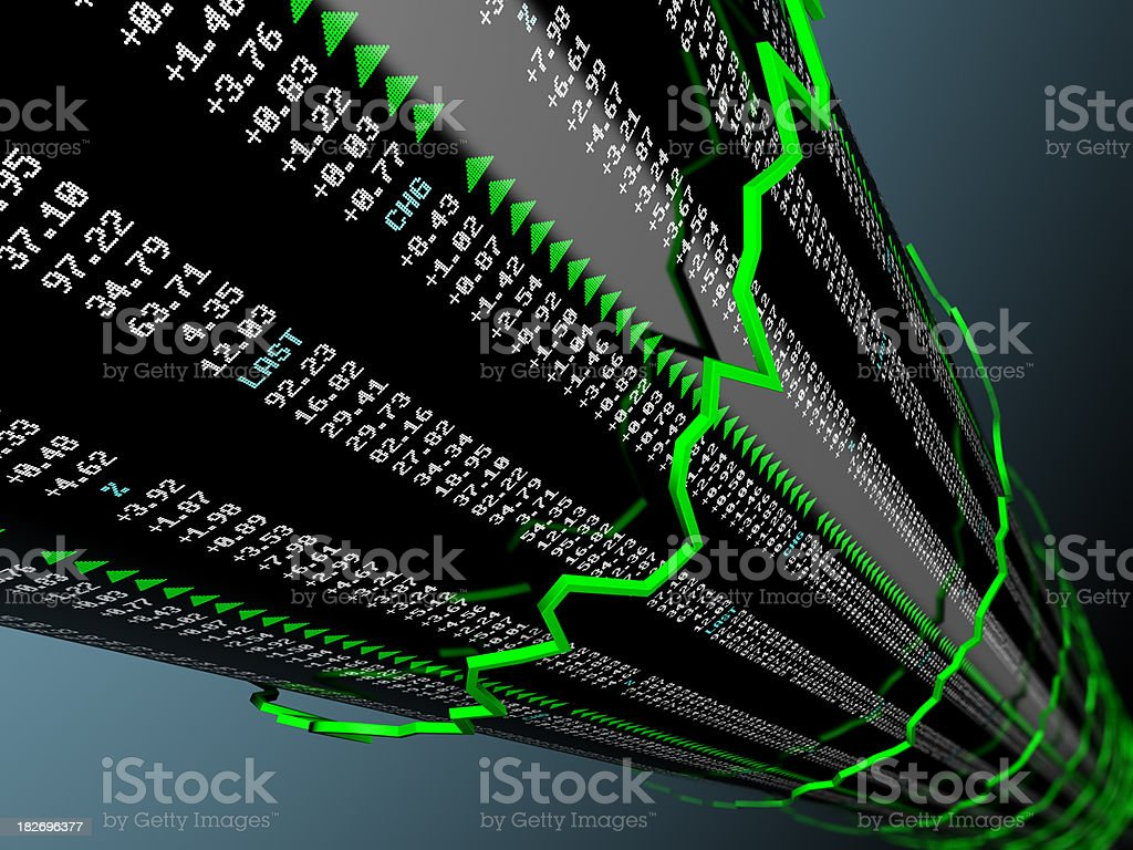 Stock market data with spiraling uptrend vector royalty-free stock photo