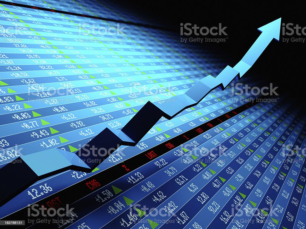 Stock market data with uptrend vector royalty-free stock photo
