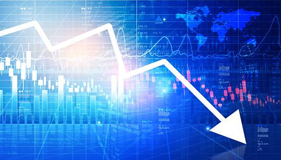 Stock market depression concept. Digital illustration