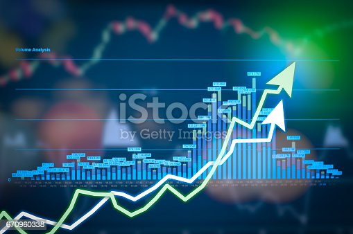 istock Stock market digital graph chart on LED display concept. A large display of daily stock market price and quotation. Indicator financial forex trade education background. 670960338