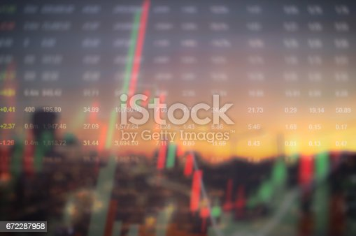 913603748 istock photo Stock market digital graph chart on LED display concept. A large display of daily stock market price and quotation. Indicator financial forex trade education background. 672287958